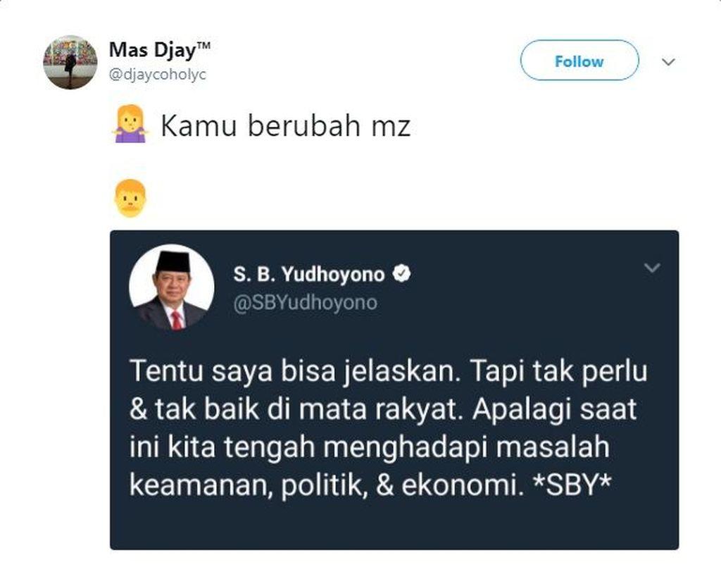 Salah satu cuitan SBY yang terkesan menggantung pun diubah oleh netizen menjadi sejumlah percakapan yang jenaka. (Foto: Twitter)