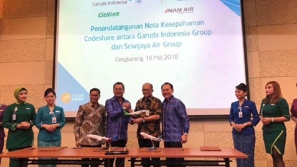 Perluas Jaringan Penerbangan, Garuda Gandeng Sriwijaya Group
