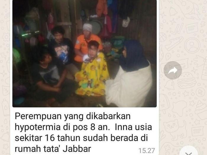 Cerita viral soal pendaki yang ditinggal di Gunung Bawakaraeng, Sulawesi Selatan, menimbulkan pertanyaan soal bahaya hipotermia. Foto: (KSDA Sulsel)