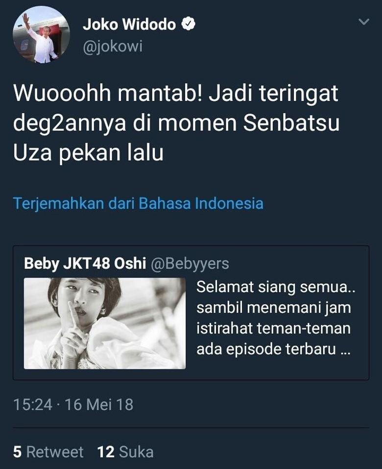 Foto: Jokowi Mencuit soal Senbatsu Uza JKT48 (Istimewa)