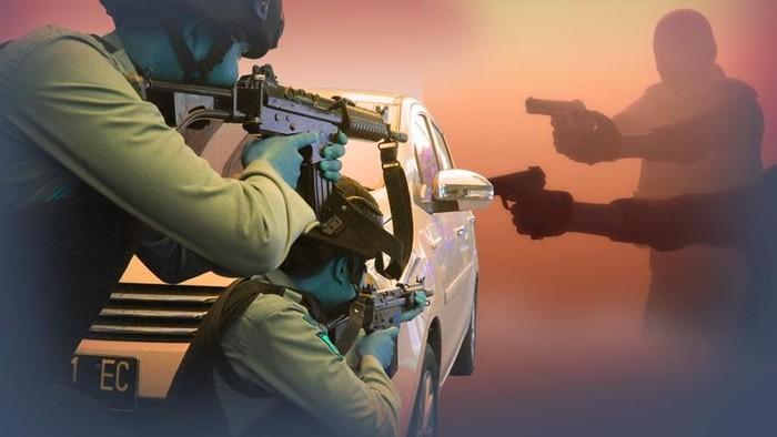 Ilustrasi penggerebekan teroris (insert) (Luthfy Syahban/detikcom)