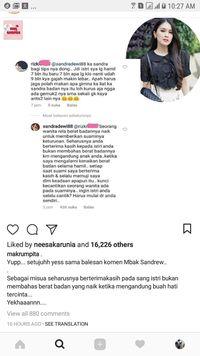 Kata Sandra Dewi tentang Bumil yang Disebut Gemuk Seperti Gajah