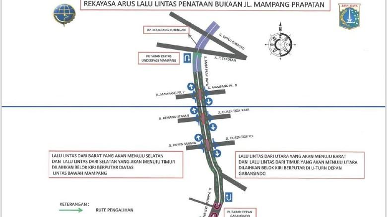 3 Simpang di Jalan Mampang Prapatan Diuji Coba Ditutup Mulai Besok
