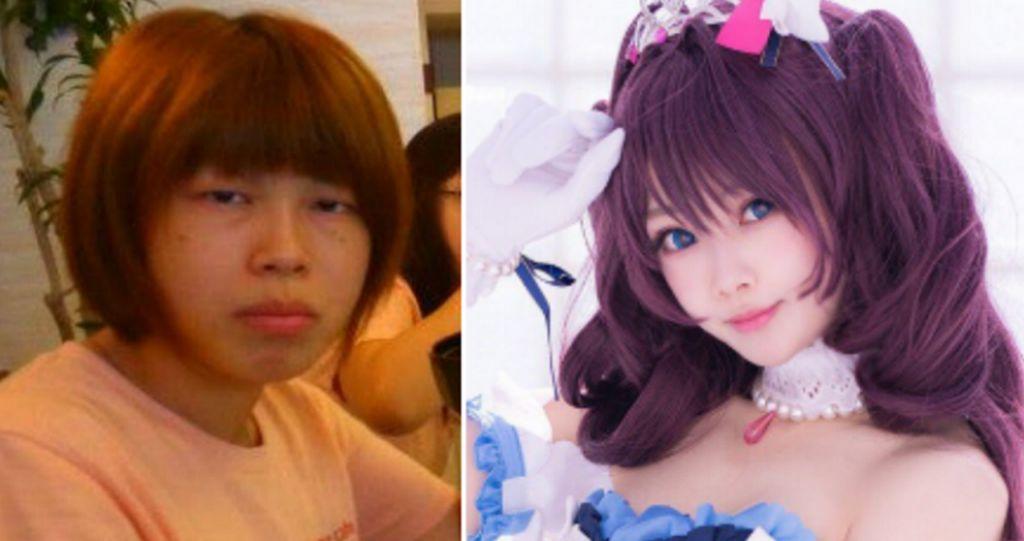 Tak diketahui nama aslinya, namun lewat akun twitter pribadinya @meiji1111111 seorang wanita berprofesi sebagai cosplayer asal Jepang tanpa malu-malu membagikan potret dirinya sebelum dan setelah operasi plastik pada wajahnya. (Foto: Twitter/meiji1111111)