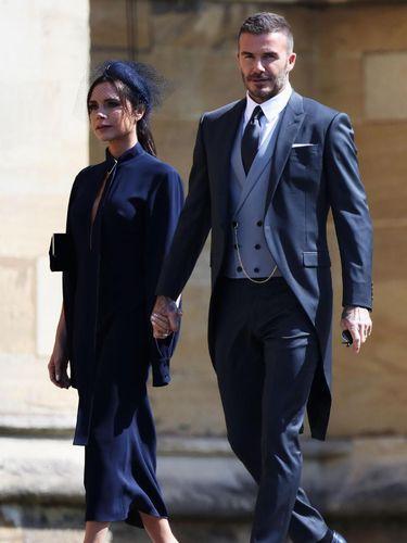 Victoria dan David Beckham Saat Menghadiri Pernikahan Pangeran Harry dan Meghan Markle.