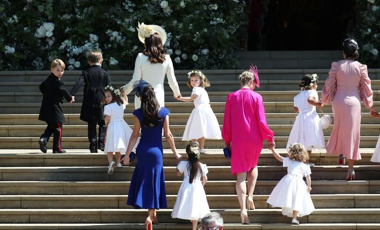 Dalam momen pernikahan sang paman, Pangeran Harry, dengan Meghan Markle, Putri Charlotte bertugas jadi bridesmaid. Sedangkan Pangeran George menjadi page boy. (Foto: Getty Images)