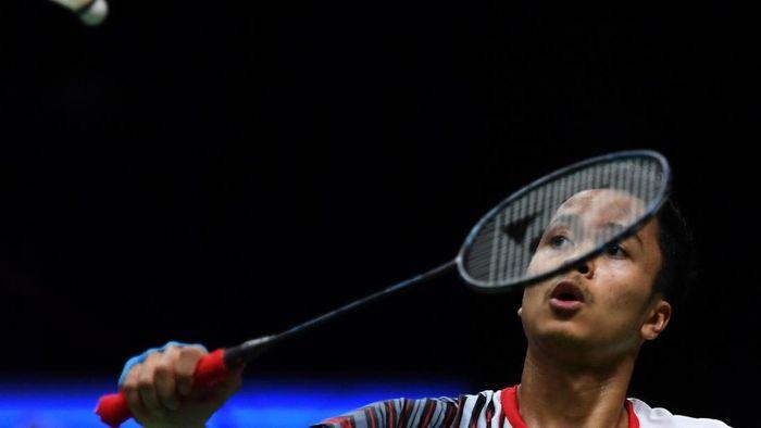 Anthony Sinisuka Ginting membuka kemenangan untuk Indonesia. (Puspita Perwitasari/antara)