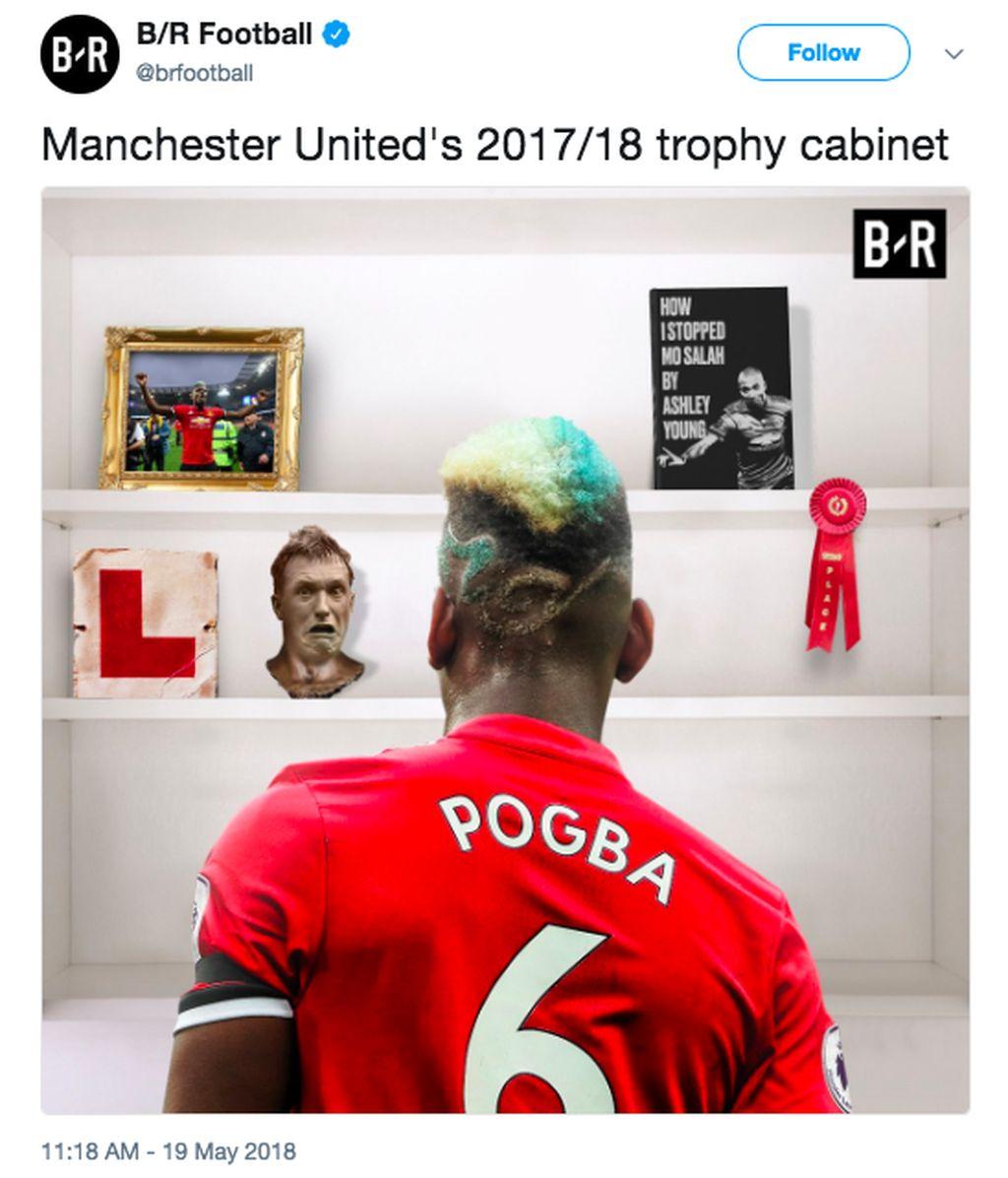 Paul Pogba meratapi lemari trofi United yang kosong di musim ini. Foto: istimewa