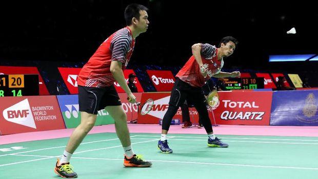 Ahsan/Hendra menang 22 menit di babak pertama Indonesia Masters 2019.