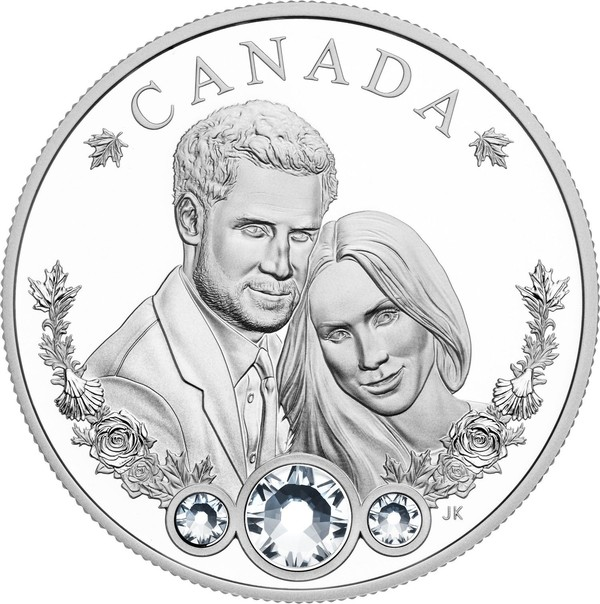 Memeriahkan royal wedding, Royal Canadian Mint pun merilis suvenir koin perak, dengan diameter 38 mm dan beratnya 31,39 gram (Royal Canadian Mint)