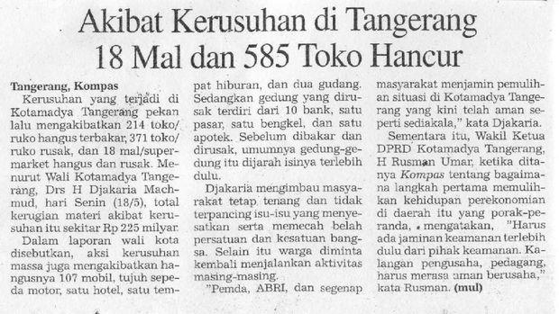 Kerusuhan dan penjarahan bukan hanya terjadi di Jakarta, tapi juga ke kota-kota sekitar. Hal ini terlihat dari potongan koran nasional.