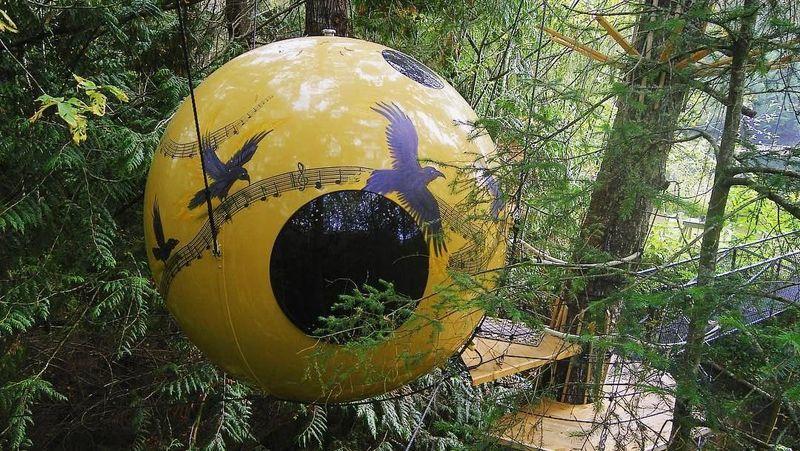 Foto: Free Spirit Spheres ada di Vancouver, Kanada, tepatnya di 420 Horne Lake Road (freespiritspheres/Instagram)