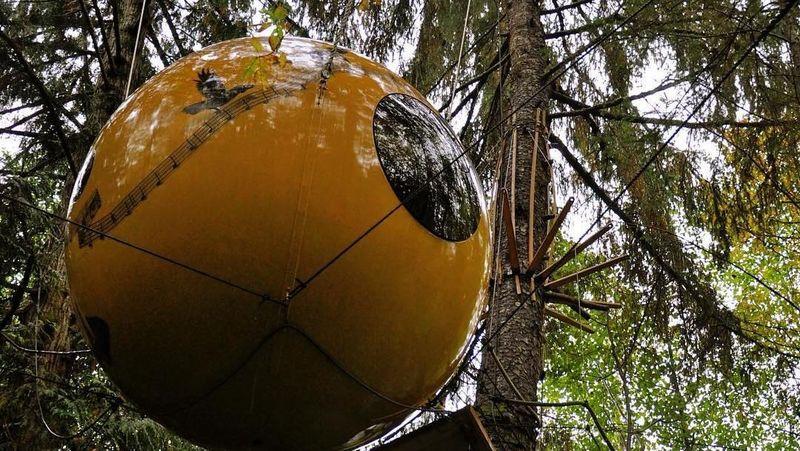Foto: Traveler diajak menginap dalam rumah pohon yang bentuknya seperti bola mata raksasa (freespiritspheres/Instagram)