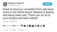 Duh! Trump Sempat Salah Tulis Nama Melania di Tweetnya