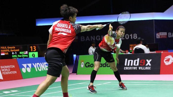 Greysia Polii/Apriyani Rahayu membawa Indonesia menyamakan kedudukan atas Malaysia (Foto: dok: Tim Humas dan Media PP PBSI)