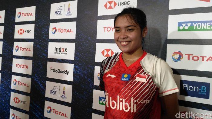 Gregoria Mariska Tunjung usai menyumbang poin buat Indonesia saat menghadapi Malaysia di fase grup Piala Uber 2018 (Foto: Okdwitya Karina Sari)