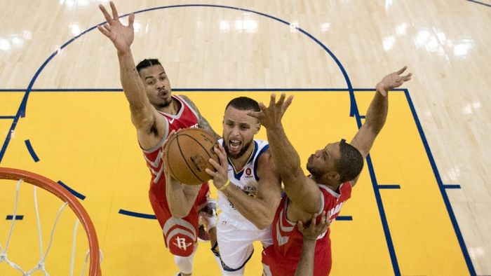 Golden State Warriors kini unggul 2-1 atas Houston Rockets di Final Wilayah Barat (Foto: Kyle Terada-USA TODAY Sports)