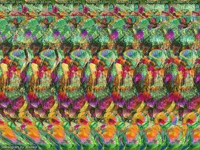 Stereogram adalah adalah ilusi optik yang menyembunyikan sebuah gambar tiga dimensi. Untuk melihatnya kamu perlu mengatur fokus kamu. Kamu bisa melihat enggak gambar 3D pada soal pertama? (Foto: Internet)