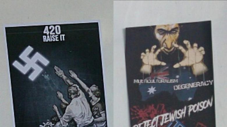 Sinagog di Adelaide Ditempeli Poster Nazi