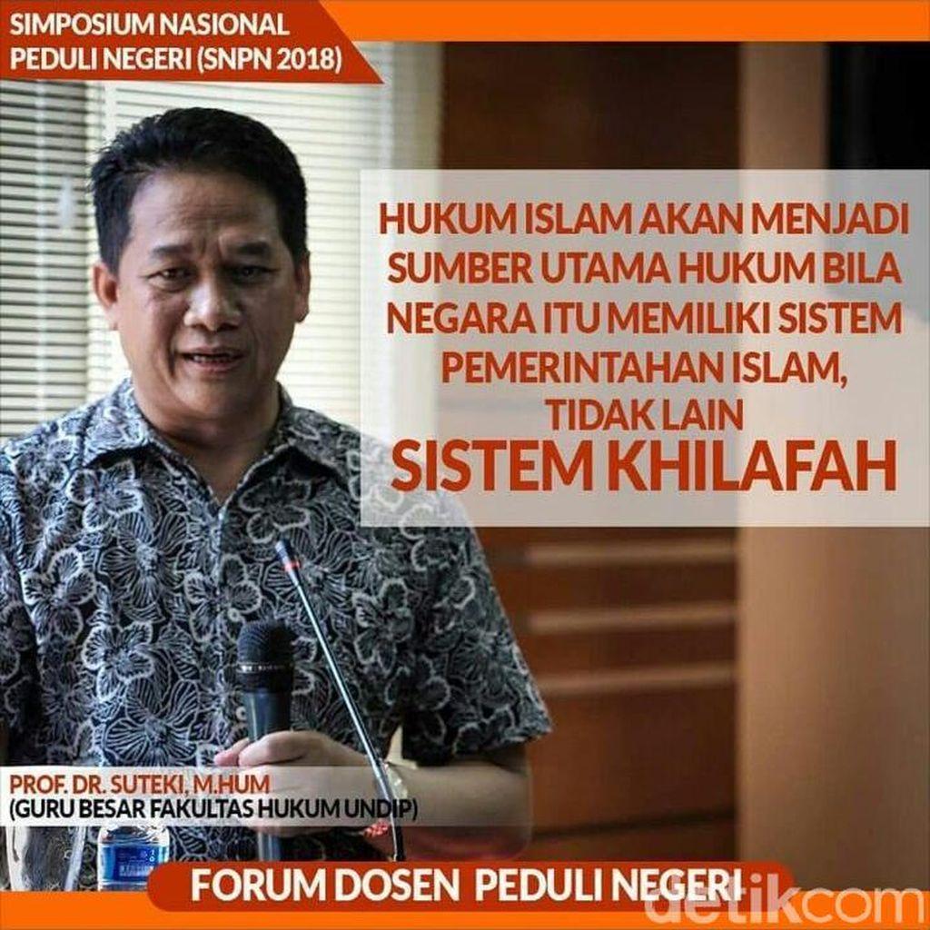 Saksi Ahli HTI Prof Suteki Polisikan Rektor Undip
