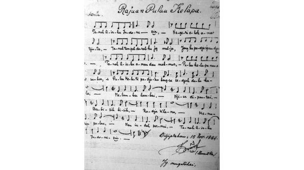 Partitur lagu Rayuan Pulau Kelapa karya Ismail Marzuki koleksi Taman Ismail Marzuki. Tertanda tangan, diciptakan 15 November 1944 oleh Ismail Marzuki.