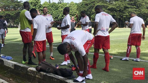 Persipura Jayapura saat menggelar persiapan di Jakarta pada Liga 1 2018. (