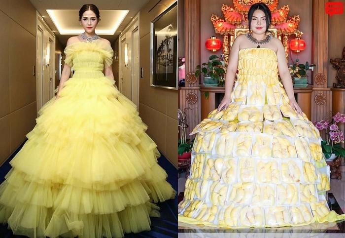 Mengikuti gaya selebriti Thailand, Araya Alberta Hargate, Sine Benjaphorn justru bikin netizen gagal fokus. Ia membuat gaun berwarna kuning dengan susunan puluhan durian yang dibungkus rapih dalam plastik. Foto: Instagram @framsook_lek_lek