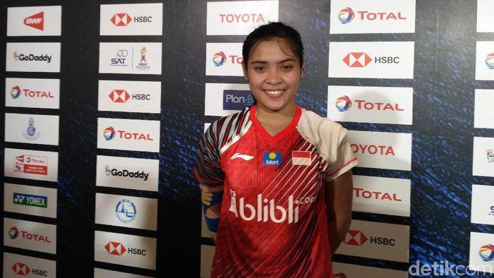 Gregoria Mariska Tunjung usai menyumbang angka buat Indonesia lawan China (Foto: Okdwitya Karina Sari)