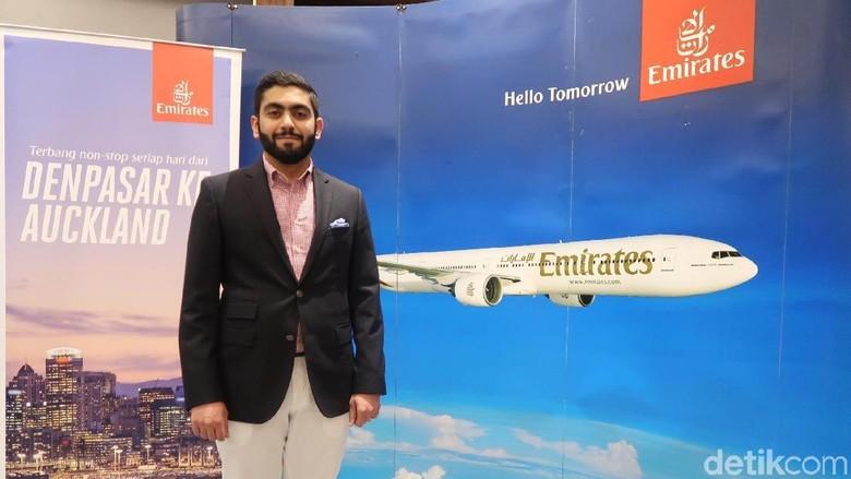 Foto: Rashid Al Ardha dalam acara Media Gathering Emirates (Bona/detikTravel)