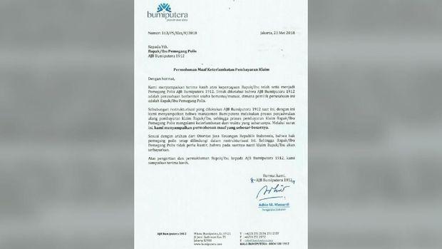 Tunda Bayar Klaim, Surat Minta Maaf AJB Bumiputera Beredar