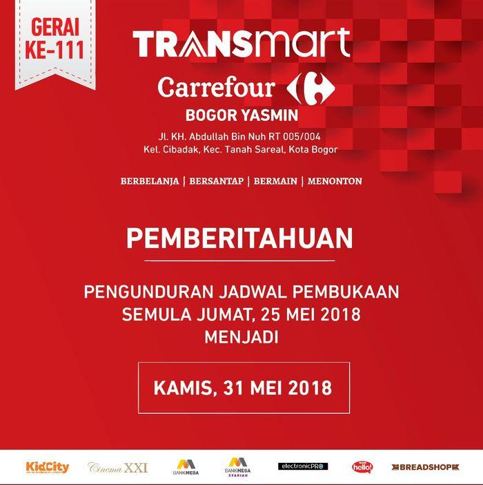 Pembukaan Transmart Carrefour Yasmin Bogor Ditunda/Dok. Transmart Carrefour