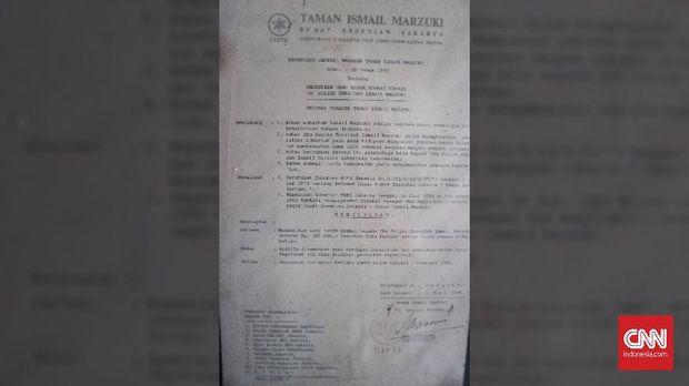 Surat pernyataan dari Taman Ismail Marzuki soal sumbangan untuk keluarga Ismail Marzuki.