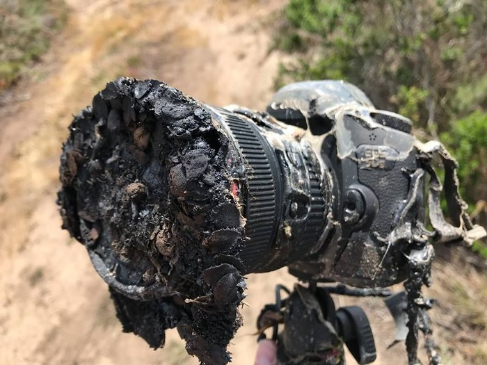Kamera Bill Ingals yang meleleh. Foto: Facebook
