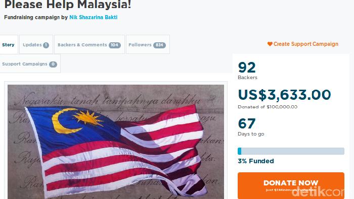 Foto: Penggalangan dana untuk bayar utang Malaysia (Screenshot Go Get Funding)