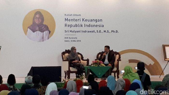 Menteri Keuangan Sri Mulyani Indrawati di IAIN Surakarta/Foto: Eduardo Simorangkir/detikFinance