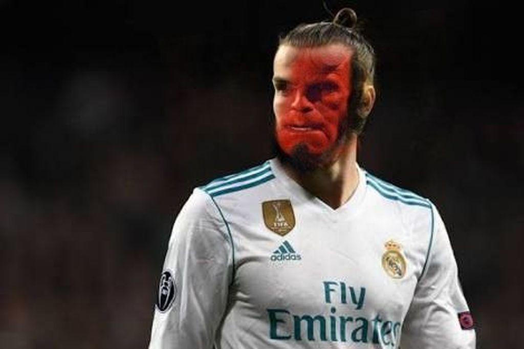 Gareth Bale digambarkan seperti Hellboy yang tampil begitu bengis membantai Liverpool dengan dua gol mautnya. Satu tendangan salto, dan satu tendangankeras jarak jauh. Foto: Istimewa/Twitter