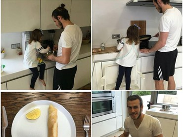 Ayah Bale sedang membuat pancake bersama Alba nih, Bun. Wah keren banget ya, masih menyempatkan diri masak bareng anaknya. (Foto: Instagram @garethbale11)