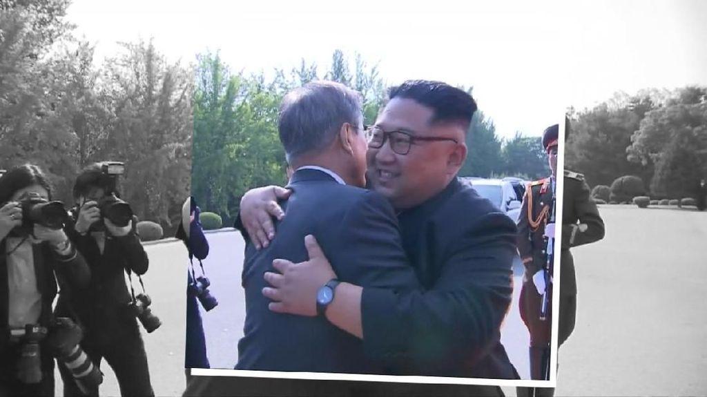 Pelukan Hangat Kim Jong-un dan Moon Jae-in