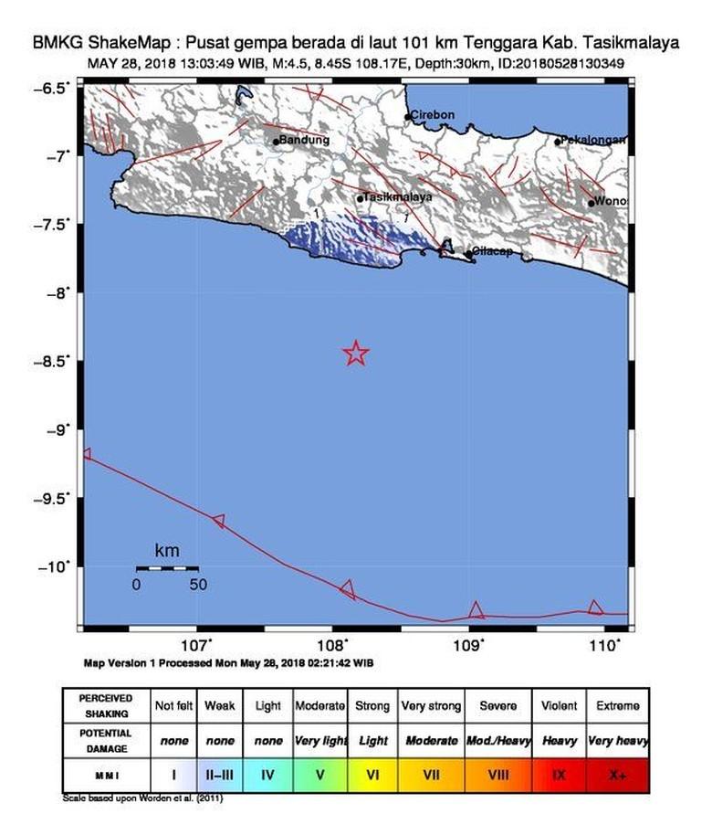 Gempa 4,5 SR Guncang Tasikmalaya