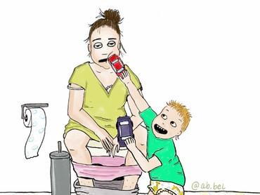 Kadang sedang di toilet aja anak masih ngintil sama bundanya. (Foto: Instagram/ab.bel)