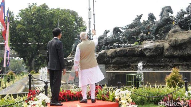 Jokowi dan PM India Shri Narendra Modi di Patung Arjuna