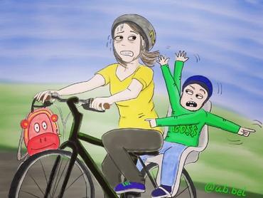 Bunda pun bisa jadi driver dadakan yang harus serba cepat mengantar anak sekolah supaya nggak telat. (Foto: Instagram/ab.bel)