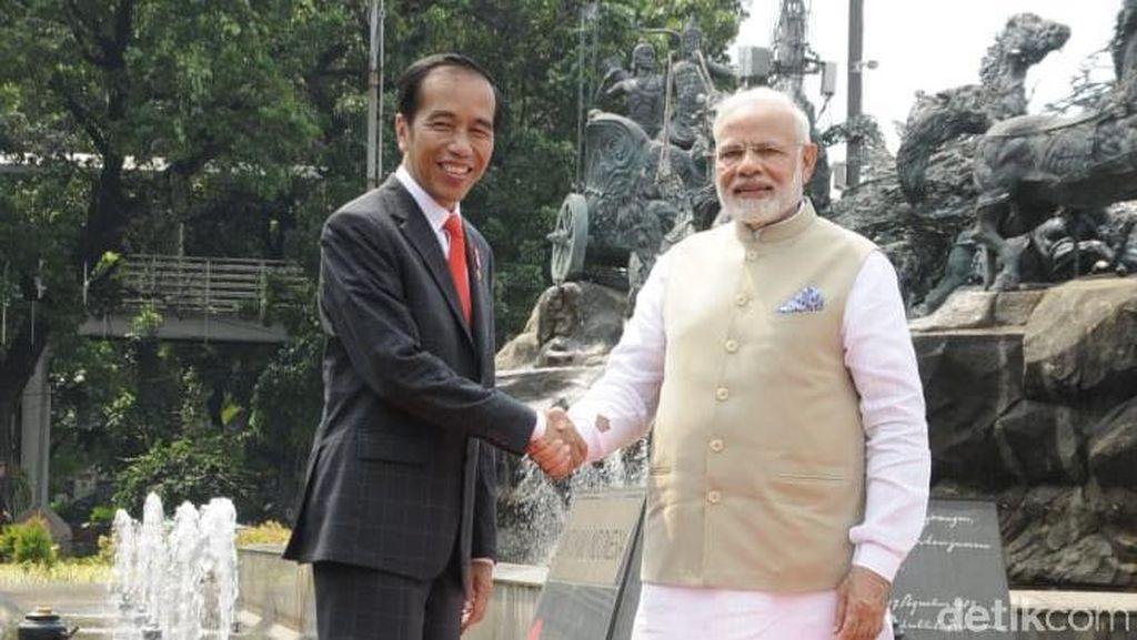 Jokowi Sambut PM India dengan Layangan dan Budaya Hindu