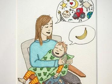 Bahkan ketika menidurkan anak pun pikiran kita masih bermacam-macam. (Foto: Instagram/ab.bel)