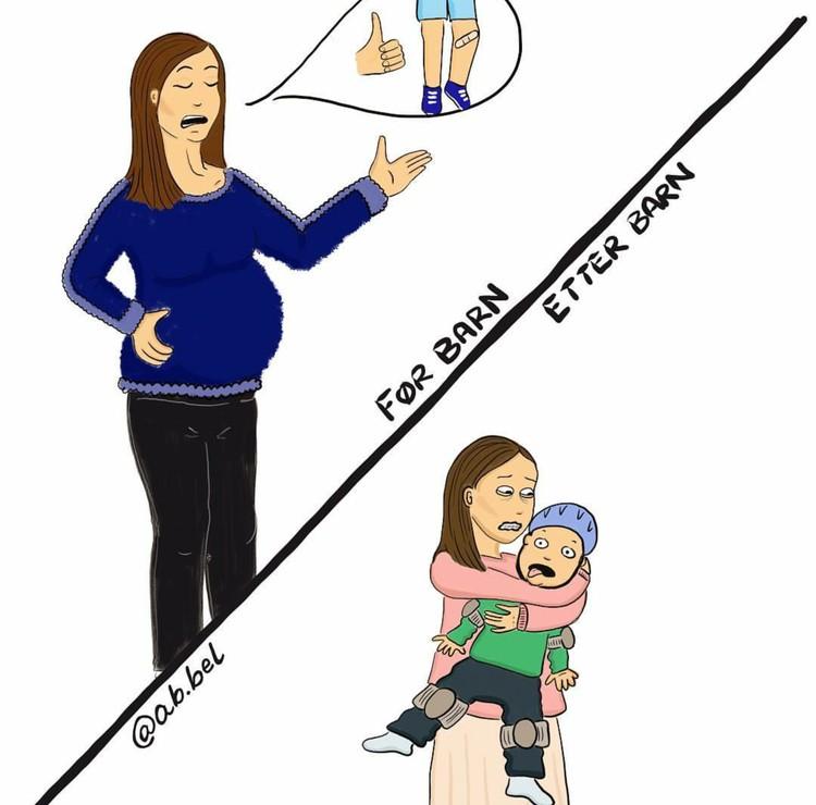 Saat hamil kita mungkin berpikir akan jadi ibu yang santai. Tapi nyatanya saat si kecil sudah lahir, parnoan, terlalu khawatir, bahkan sedih bukan main ketika si kecil sakit bisa dialami. (Foto: Instagram/ab.bel)