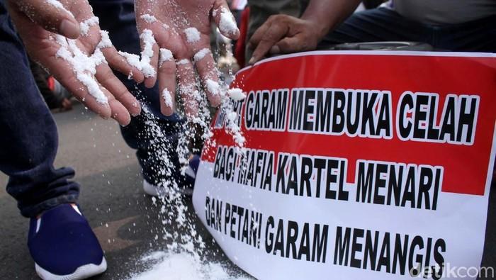 Sekitar 200 massa yang terdiri dari organisasi mahasiswa Garda NKRI dan para petani garam siang ini menggelar aksi demonstrasi di depan Istana Merdeka, Jakarta, Rabu (30/5/2018). Mereka menolak kebijakan pemerintah mengenai impor garam 3,7 juta ton.