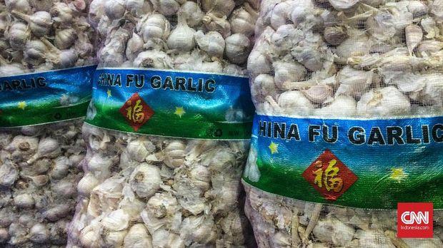 Bawang putih ilegal sitaan Bareskrim Polri, di Jakarta, Kamis (31/5).