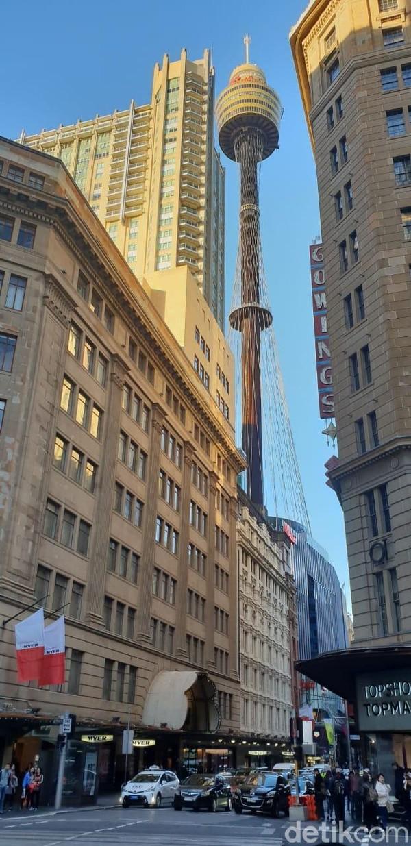 Kawasan George Street bisa ditandai dengan Sydney Tower. Inilah tempat ikonik di Sydney (Rivki/detikTravel)
