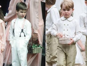 Pangeran George menjadi page boys tantenya, Pippa Middleton. Sepertinya foto yang satu, Pangeran William kecil juga jadi page boys nih. (Foto: Instagram @theroyalcourier)