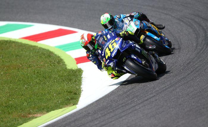 Waktu terbaik Rossi di Sirkuit Mugello, Sabtu (3/6/2018) waktu setempat adalah 1 menit 46,208 detik. Rossi menjadi yang terbaik dan berhak atas posisi start paling depan. (REUTERS/Alessandro Bianchi)